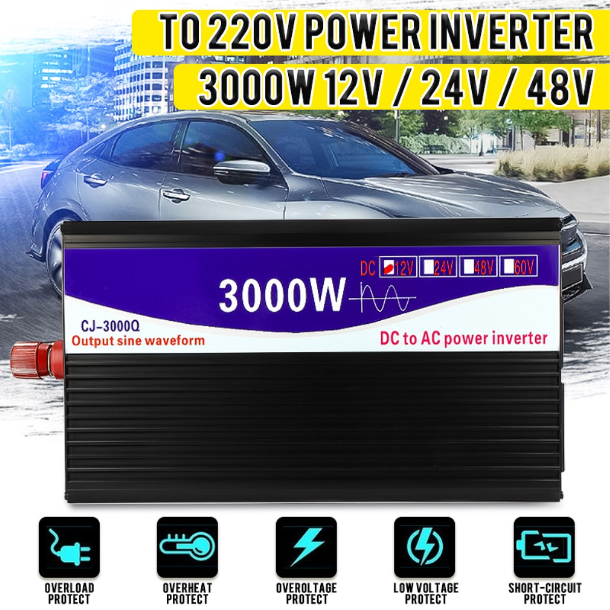 <font><b>Inverter</b></font> 12V/<font><b>24V</b></font>/48V to <font><b>220V</b></font> <font><b>2000W</b></font> 3000W Voltage Transformer Converter Pure Sine Wave Power <font><b>Inverter</b></font> Double LCD display image