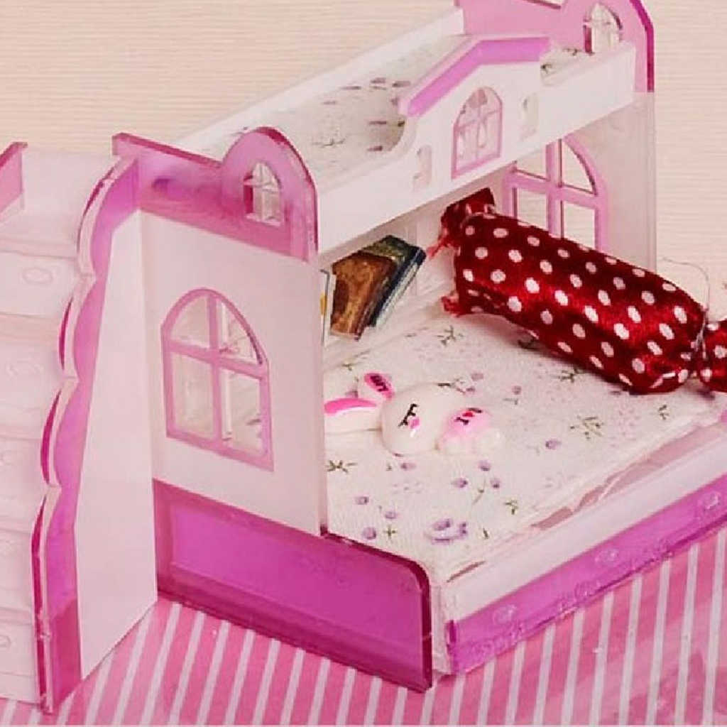 MagiDeal 1:12 Dollhouse Miniature Furniture Children Bunk Bed DIY Assembled
