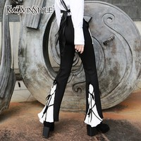 TWOTWINSTYLE Casual Trousers For Women High Waist Patchwork Bandage Patchwork Hit Colors Flare Pants Female 2019 Spring Fashion