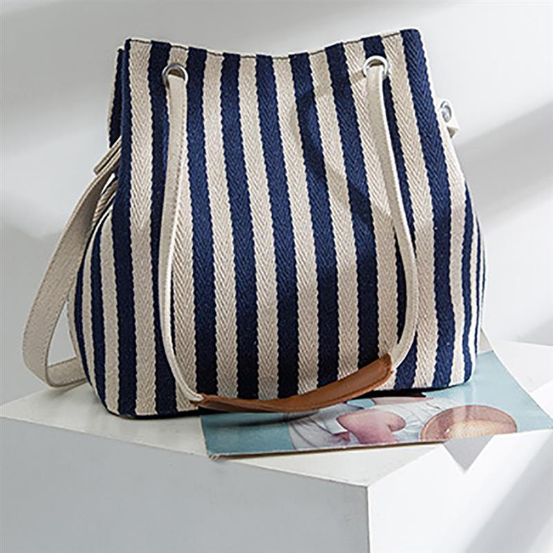Fashion Hit Color Patchwork Female Handbag Top Handle Canvas Stripe Pattern Messenger Bag For Ladies Women Bucket Bag in Shoulder Bags from Luggage Bags