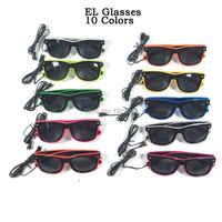 Gafas calientes EL con lentes negros 23 unids/pack 10 Colros selectos luz de neón LED luz up Gllasses fiesta brillante decorativo gafas