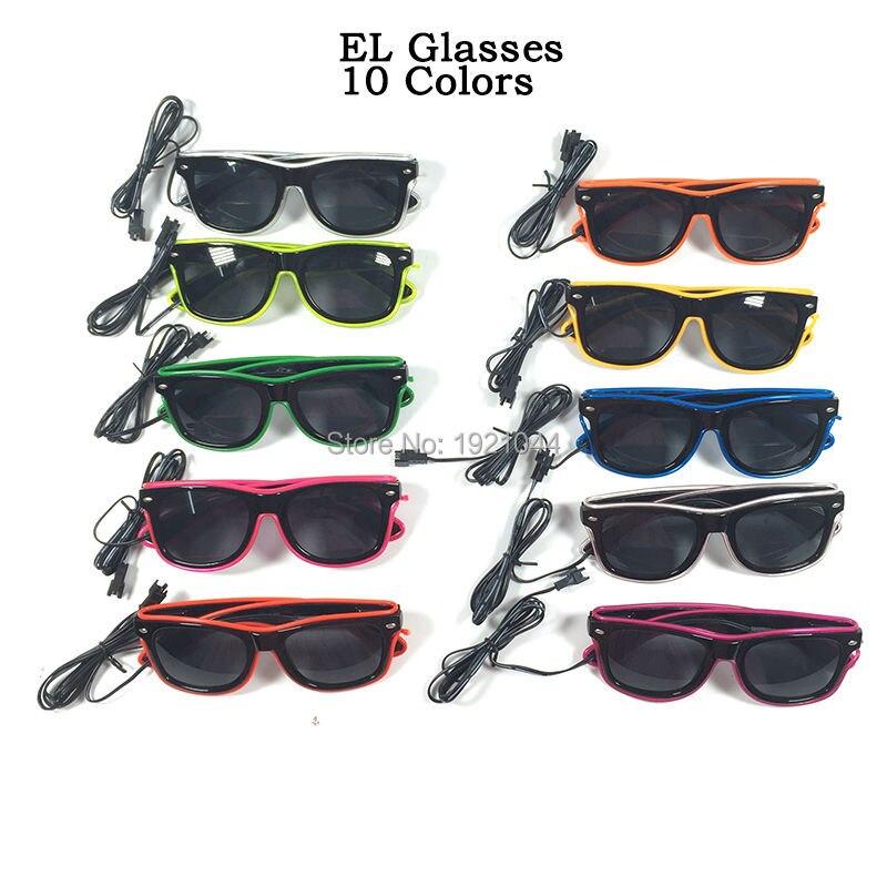 Hot EL lunettes avec lentille noire 23 pcs/paquet 10 Colros sélectionner néon éclairage LED up Gllasses lueur partie lunettes décoratives