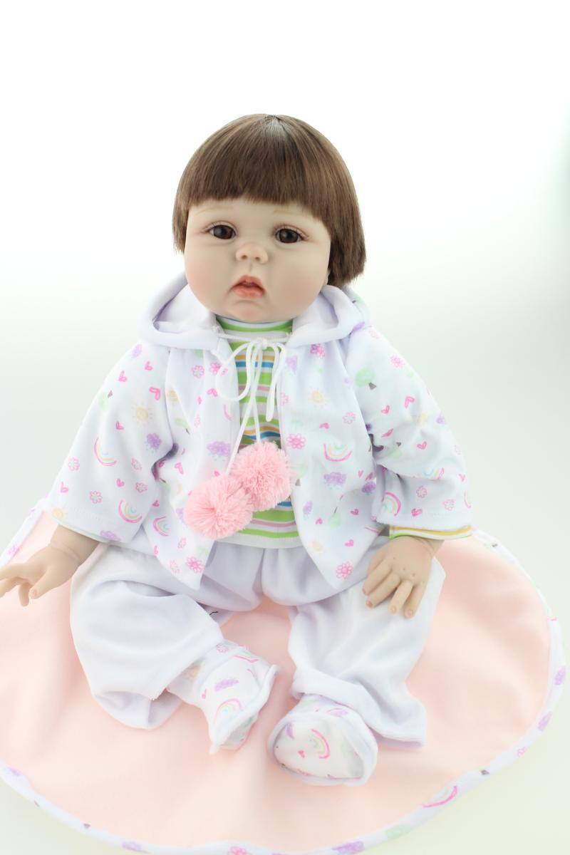 Silicone reborn baby dolls lifelike clever girl realistic hobbies handmade baby alive doll for child safe classic toy brinquedosSilicone reborn baby dolls lifelike clever girl realistic hobbies handmade baby alive doll for child safe classic toy brinquedos