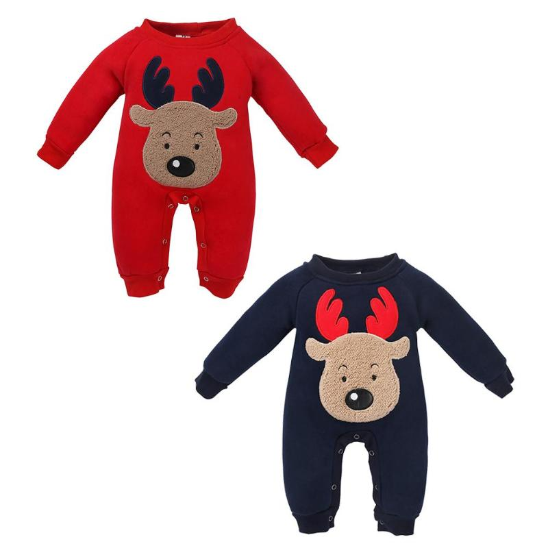 Newborn <font><b>Baby</b></font> Winter <font><b>Christmas</b></font> <font><b>Romper</b></font> Kids Thicken <font><b>Fleece</b></font> Animal Cartoon Cute Long Sleeves <font><b>Romper</b></font> Kids <font><b>Baby</b></font> Boys <font><b>Girls</b></font> <font><b>Clothes</b></font> image