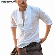 Male Shirt Blouse Camisa Slim-Fit Streetwear Long-Sleeve INCERUN Men Plus-Size Fashion
