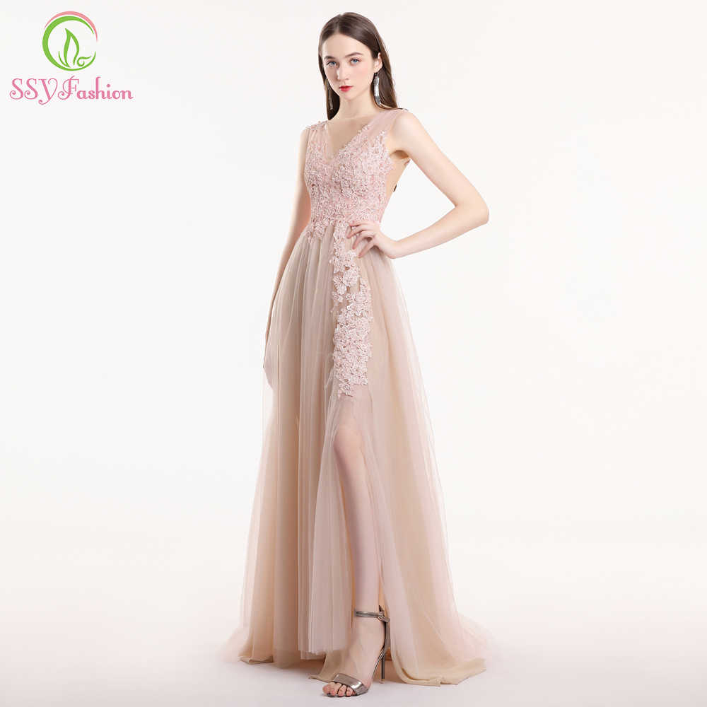 33abb090697 SSYFashion New Nude Pink Lace Prom Dress Robe De Soiree Sweet Sleeveless  Sweep Train Appliques Beading