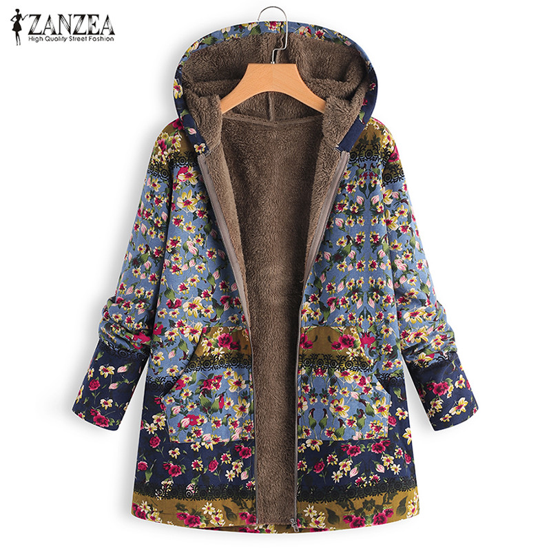 2019 ZANZEA Winter Warm Fluffy Outwear Women Casual Hooded Zipper Long Sleeve   Basic   Coat Vintage Floral Printed Patchwork   Jacket