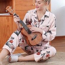 Шелковый женский пижамный комплект весна лето сексуальная пижама Женская Плюс Размер Пижама женская с длинными рукавами из сатина ночное белье