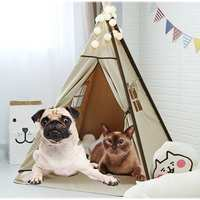 Dog Pet Tents 2 Sizes Supplies White Canvas Teepee House Pet Bed Cat Bed House Portable Dog Tent Beds