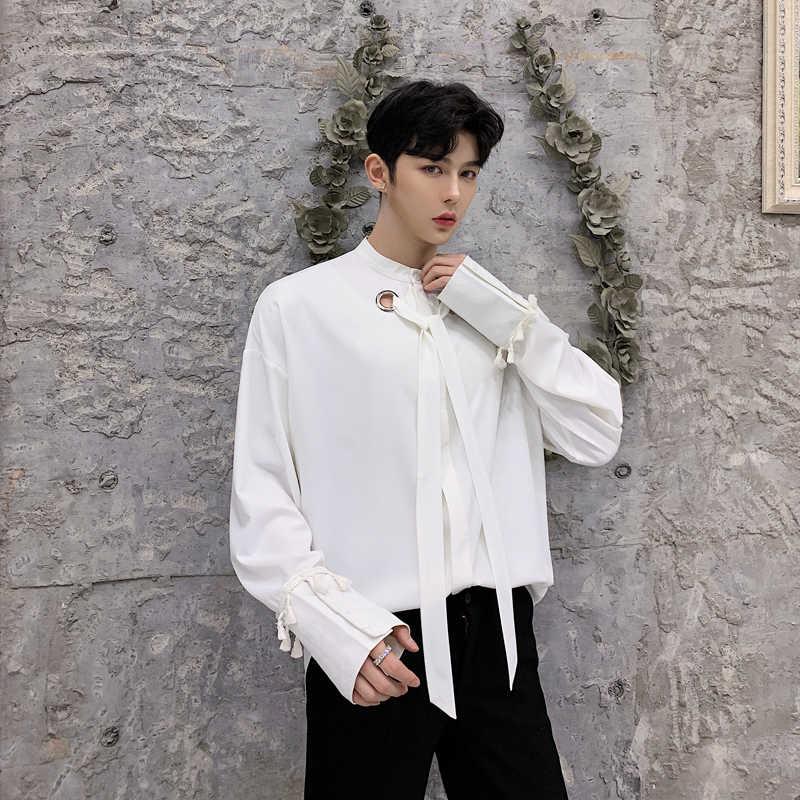 タッセルバロックメンズカミチアドレスは Barocco 男クラブ服メンズシャツ黒カミーサソーシャル白ルーズドレスシャツ 2019 春