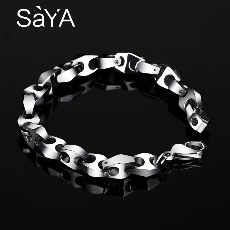 New Arrival Punk High Polished Tungsten Bracelets for Man 20CM Length Long Bone Design Bracelet 9mm Width Weight 70.8g-in Chain & Link Bracelets from Jewelry & Accessories    1