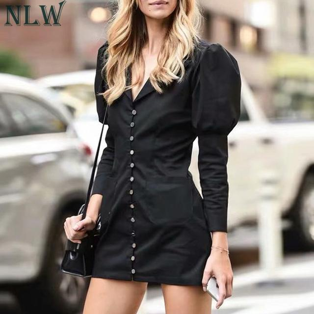 NLW 2019 Women Fashion Blazer Dress Casual V Neck High Waist Slim Mini Dress Long Sleeve Button Office Lady Chic Short Dresses 3