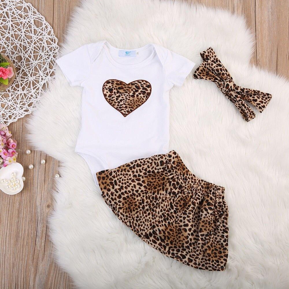 2019 Summer Newborn Baby Girls Tops Romper+ Leopard Skirt+Headband 3Pcs Outfit Clothes