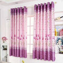 Popangel 100% Polyester 2 Meters High short Curtains Tulips Printed Semi-Shading Purple Window Finished Curtains for Living Room(China)