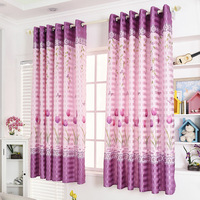 Popangel 100% Polyester 2 Meters High short Curtains Tulips Printed Semi Shading Purple Window Finished Curtains for Living Room