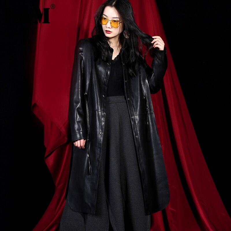 [EAM] 2019 New Spring Summer Lapel Long Sleeve Black Pu Leather Loose Irregular Drawstring Windbreaker Women   Trench   Fashion WC06