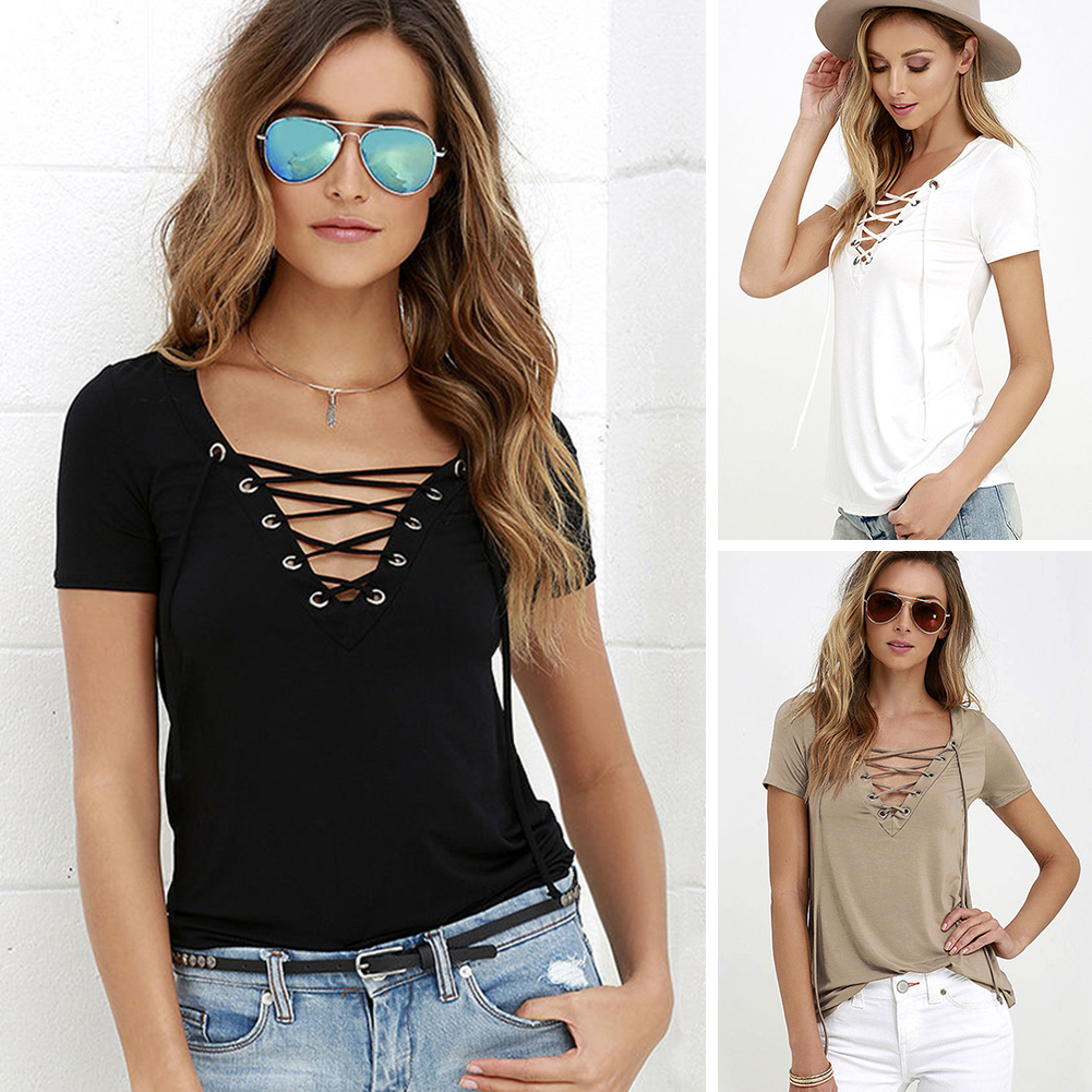 <font><b>Summer</b></font> Fashion Women <font><b>T</b></font>-<font><b>shirts</b></font> Short Sleeve <font><b>Sexy</b></font> Deep <font><b>V</b></font> <font><b>Neck</b></font> <font><b>Bandage</b></font> <font><b>Shirts</b></font> Women Lace Up Tops Tees <font><b>T</b></font> <font><b>Shirt</b></font> Plus Size S-XL image