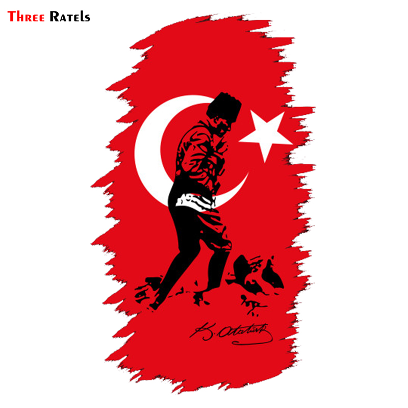 Three Ratels TRL603# 9x15cm Turkey Mustafa Kema Ataturk Signature Colorful Funny Car Stickers And Decals Styling Removable