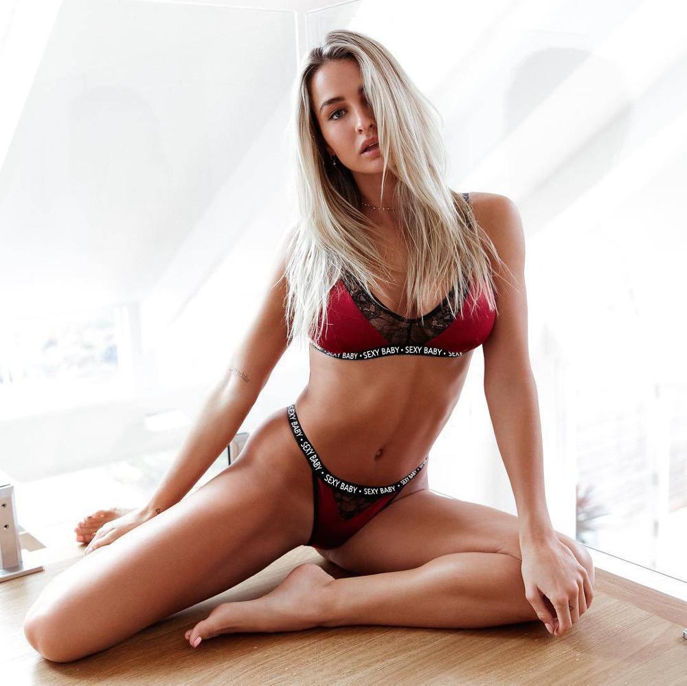 CWXANS Sexy Bra Set Women Alphabet Mesh Transparent Push Up Lingerie Bralette Active Bra Seamless Thong Panties Underwear