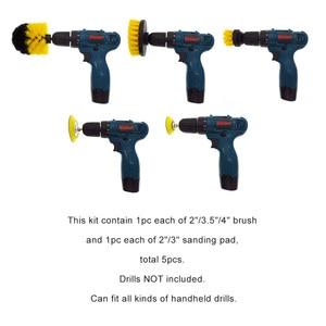 Image 2 - 5 Pcs Car Detail Nylon Brush Set For Car wheel/Engine/home/bath/floor tile Auto Detail Brushes Kit with 2 electric Grinding Disc