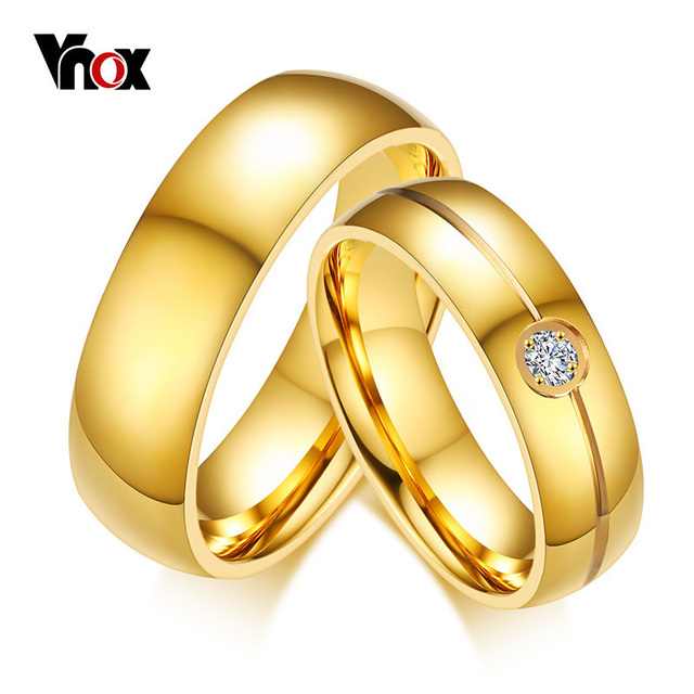 Vnox Gold Color Engagement Promise Finger Ring 6MM Stainless Steel Wedding Ring for Women Men Personalized  Valentine's Day Gift