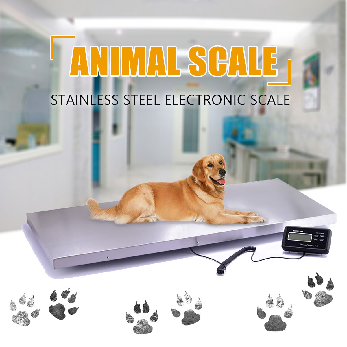 Electronic Balance Floor Bench Weight Commercial/Veterinary Scales Digital Platform Scales Animal/Parcel Platform Scale 300kg|Hand Tool Sets| |  - title=