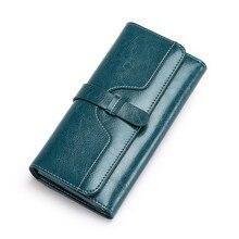 Купить с кэшбэком Vintage Genuine Leather Wallet Women Wallets Long Hasp Money Pocket Coin Pocket Purse Card Holder Clutch Bag Carteira Feminina