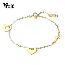 Vnox Elegant Gold Tone Chain Bracelets for Woman Anniversary Gift Fashion Brand Jewelry(China)