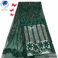 BEAUTIFICAL french tulle lace fabrics 2019 african laces fabric with beads and rhinestones green mesh laces 5yards/lot ML35N48