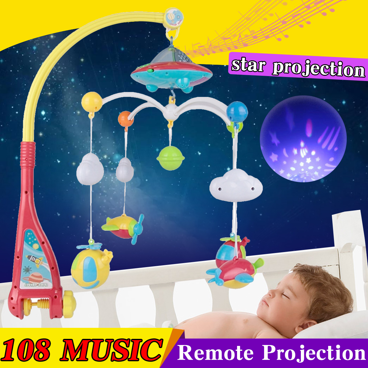 Baby bed bell For 0-12 month baby toy Remote rotating music bed hanging rattles bracket set baby crib mobile holder Baby Rattles baby musical crib mobile bed bell baby hanging rattles rotating bracket projecting toys for 0 12 months newborn kids gift