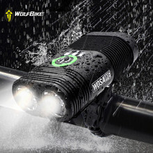 WOSAWE Waterproof 2400 Lumens Bicycle Headlights Double LED Built-in Rechargeable USB Mtb Mountain Bike Cycling Flashlights wosawe 2400 lumens bike bicycle light with 18650 built in batteries usb rechargeable bike light 2 xml led lamp bike accessories