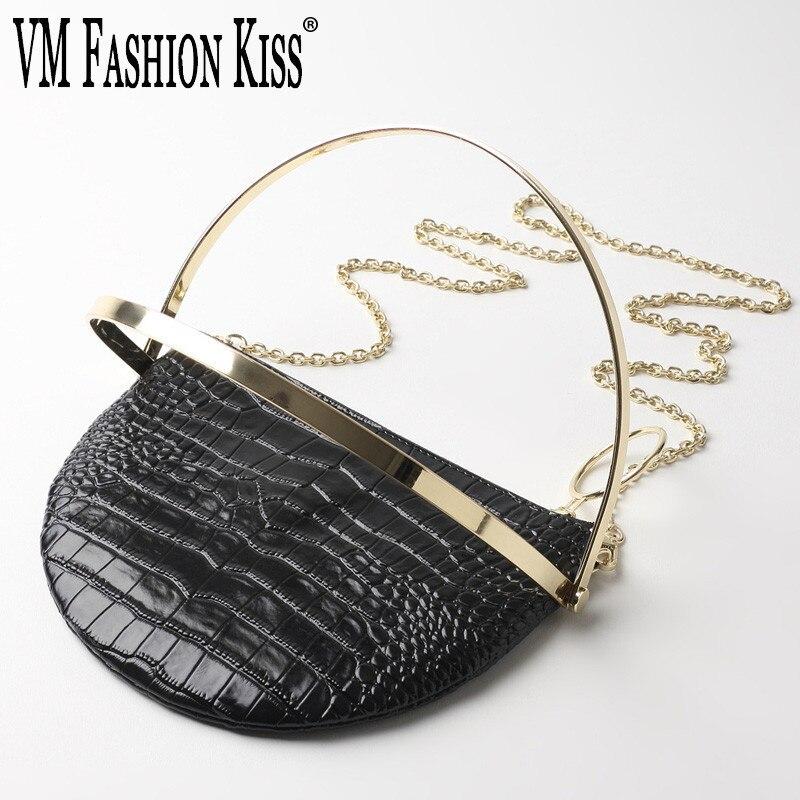 VM FASHION KISS Luxurious Crocodile Pattern Split Leather High Quality Half Moon Handbag Designer Gold Chain Shoulder Bag Girl luxurious crocodile pattern shoulder bag 100