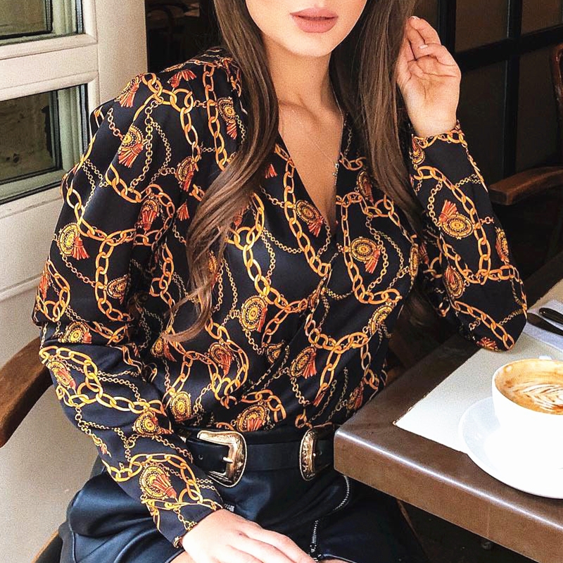 new fashion women password chain printed vintage blouse shirts female vogue high street criss-cross v neck blouses tops shirt
