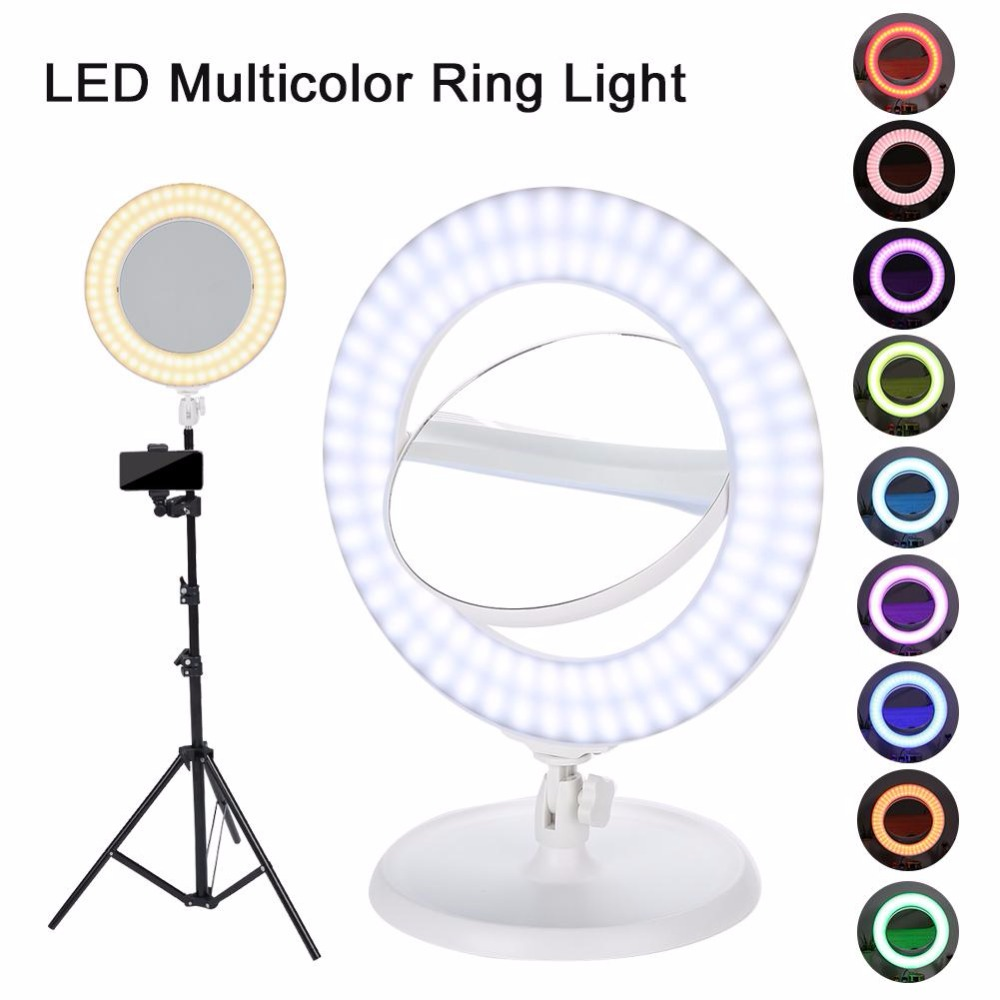 Двухстороннее зеркало для макияжа + светодио дный Диммируемый СВЕТОДИОДНЫЙ многоцветный кольцевой свет + штатив подставка для видеосъемки