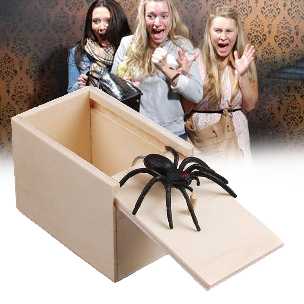 1 Pcs Wooden Prank Spider Scare Box Case Joke Lifelike Funny Surprise Gag Toy YJS Dropship