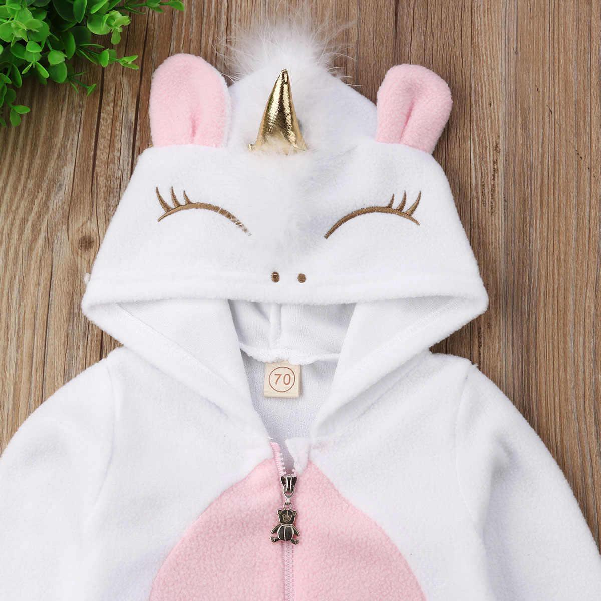 63fdbdf7f8f ... 2019 Fashion Newborn Toddler Baby Girls 3D Unicorn Hooded Zipper Romper  Jumpsuit Outfits Clothes Autumn Winter ...