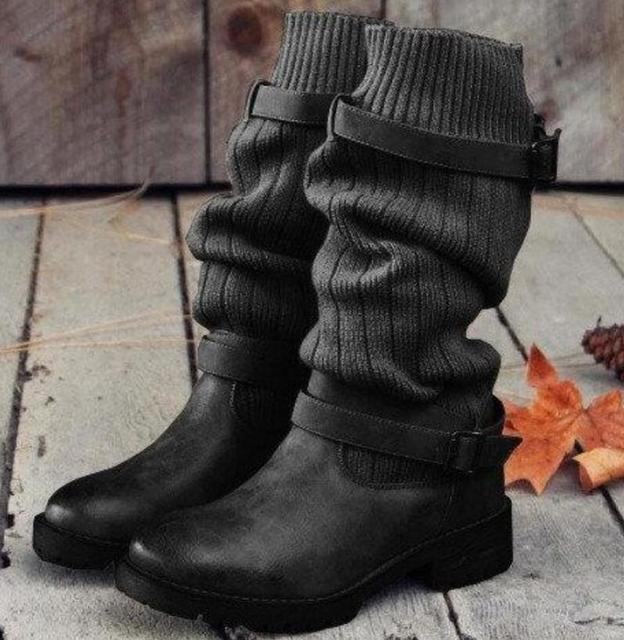 Kobiety buty połowy łydki slip on chaussures femme panie chunky niskie obcasy buty kobieta zapatos mujer sapato jesień botki TA0077