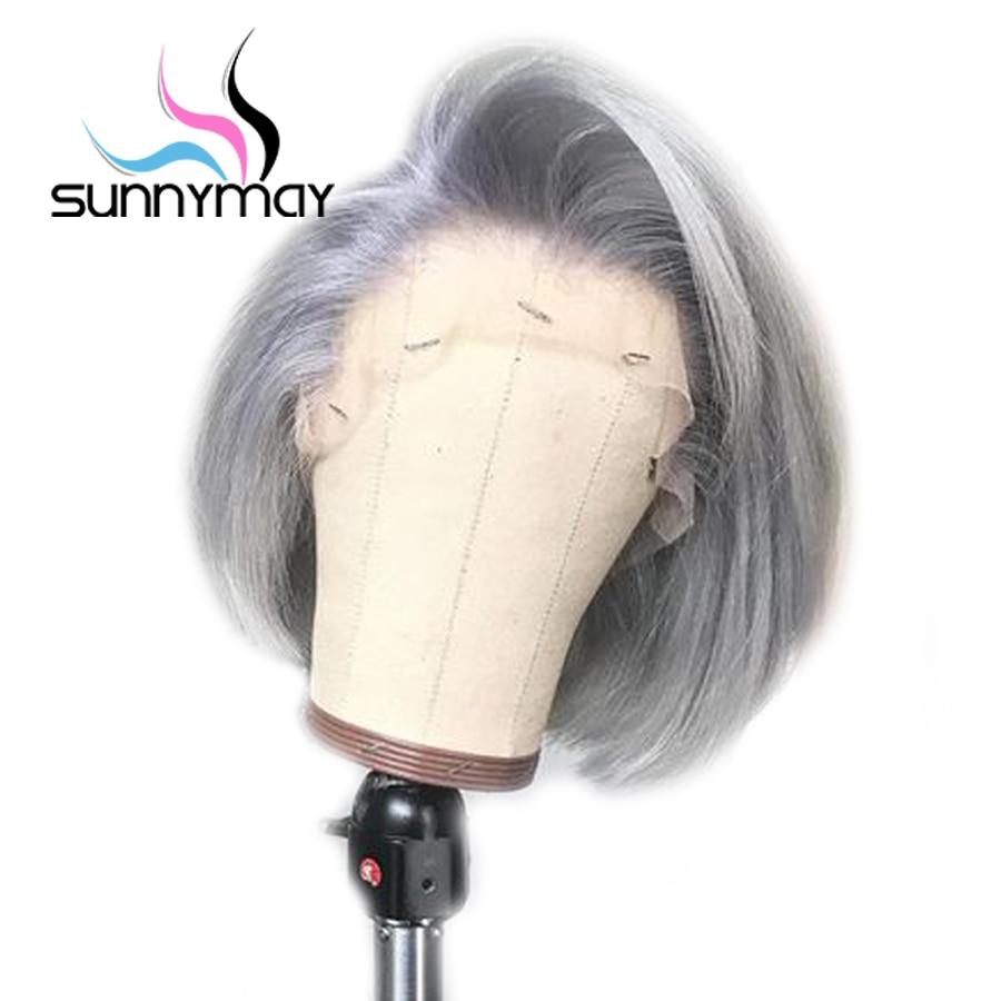 Sunnymay 13x4 avant de lacet perruques de cheveux humains couleur grise Bob perruque pré plumée avec des cheveux de bébé Remy droite avant de lacet perruques sans colle