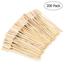 200 Stuks Bamboe Paddle Pick Spiesjes Roosteren Sticks Voor Fruit BBQ Gebruik Cocktail Drink Stirrers Tandenstokers Feestartikelen(China)