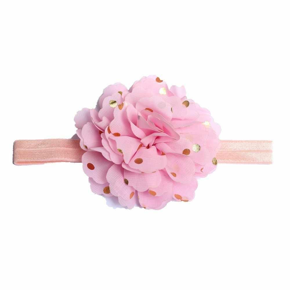 Повязка на голову для девочек аксессуары для волос для младенцев горячая штамповка в горошек цветок новорожденный цветочный головной убор Тиара головной убор повязка для волос подарок