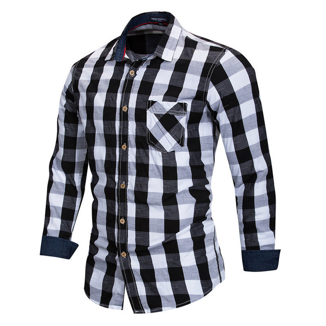 Us 16 26 39 Off Checkered Shirt Men Plaid Shirt Black And White 2019 Spring New Long Sleeve Cotton Shirt Slim Fit Casual Style Man Clothes In Casual