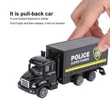 1/64 Scale high simulation Pull-back Police Truck Police Crane Tank Truck model toy for Children kids nice gift Toy(China)
