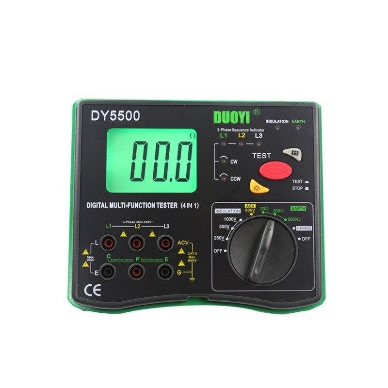 Dy5500 4 Dans 1 Numérique Multi-fonction Testeur Multimètre-contrôleur d'isolation + Terre Testeur + Voltmètre + Phase Indicateur
