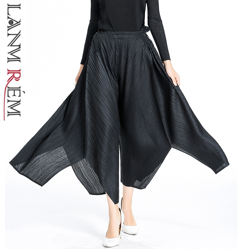 LANMREM 2019 New Fashion Irregular Pleated Black   Pants   Casual Elastic Waist Bandage Trousers Female's   Wide     Leg     Pants   YF54701