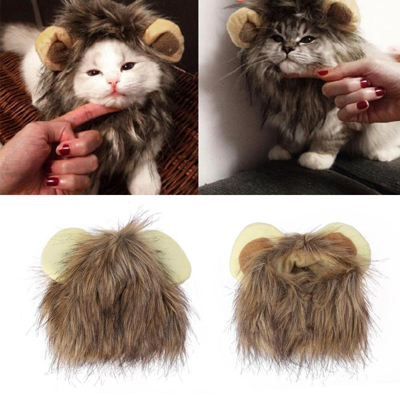 Adjustable Pet Hat For Dogs Cats Emulation Lion Hair Mane Ears Head Cap Scarf Pet Christmas Halloween Party Festival Costume