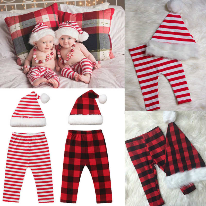 2pcs Newborn Baby Kids Girls&boy Xmas Santa Hat+plaid Long Pants Outfits Christmas Set Newborn Photography Props Pants