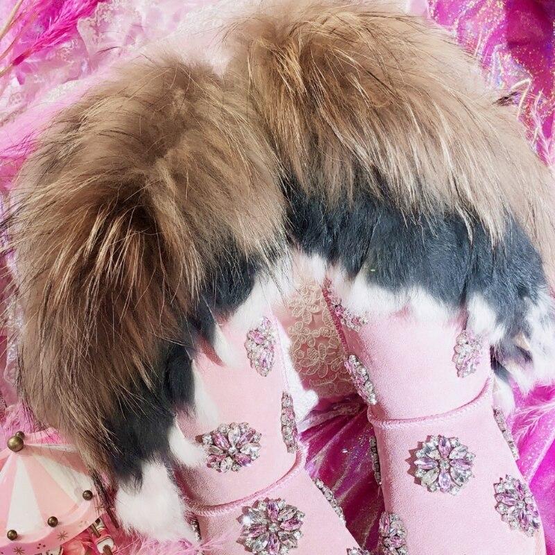 Lujo Nieve Diamante Zapatos Las Rodilla La Tacón Invierno Botas Piel As Mujer Bajo Mujeres Para Flor Cristales Photo De Real Señoras 7g0qYY