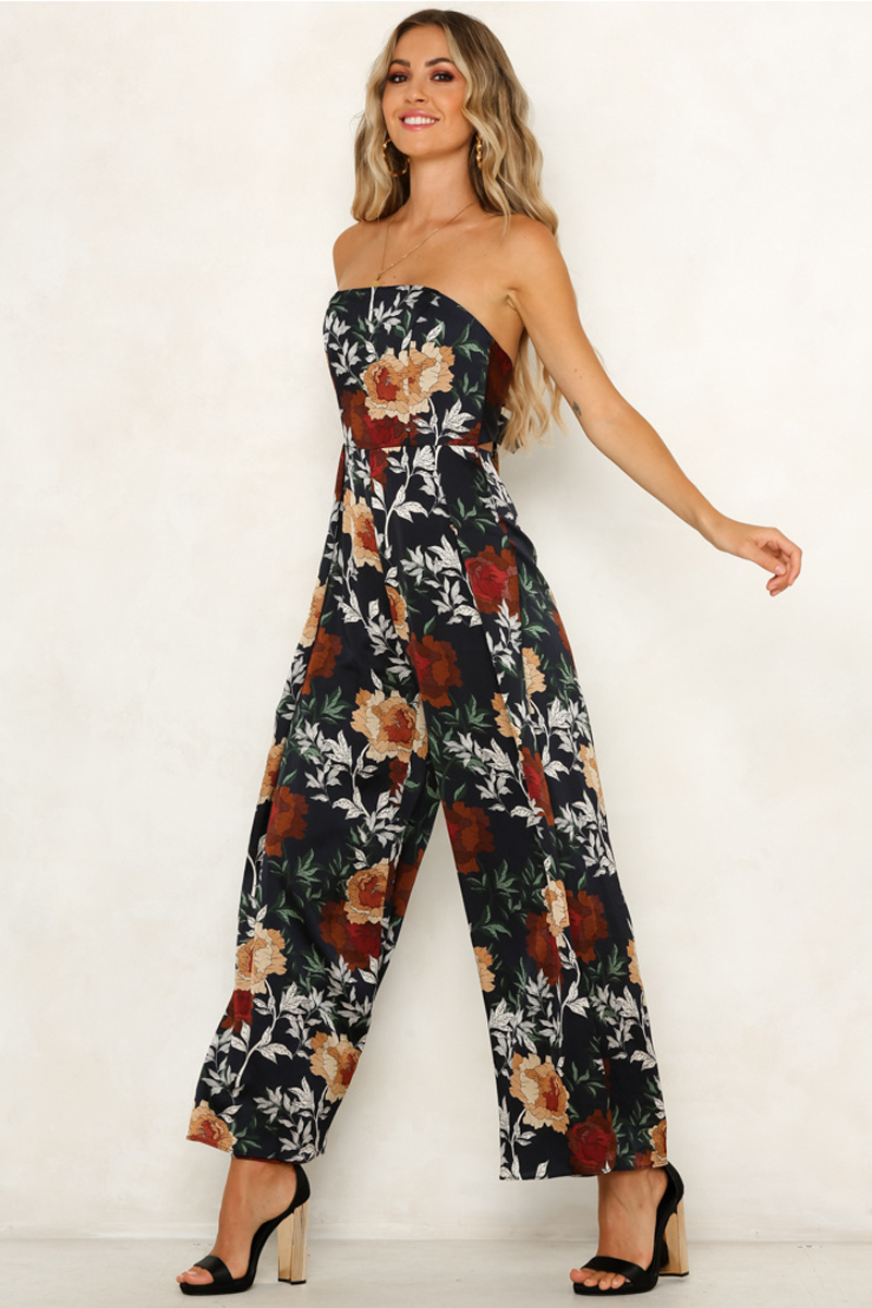 Jumpsuits for Women 2020 Boho Floral Print  Sleeveless Backless Strapless  Summer Sexy Maxi Fashion Jumpsuit&Romper Hot Sale