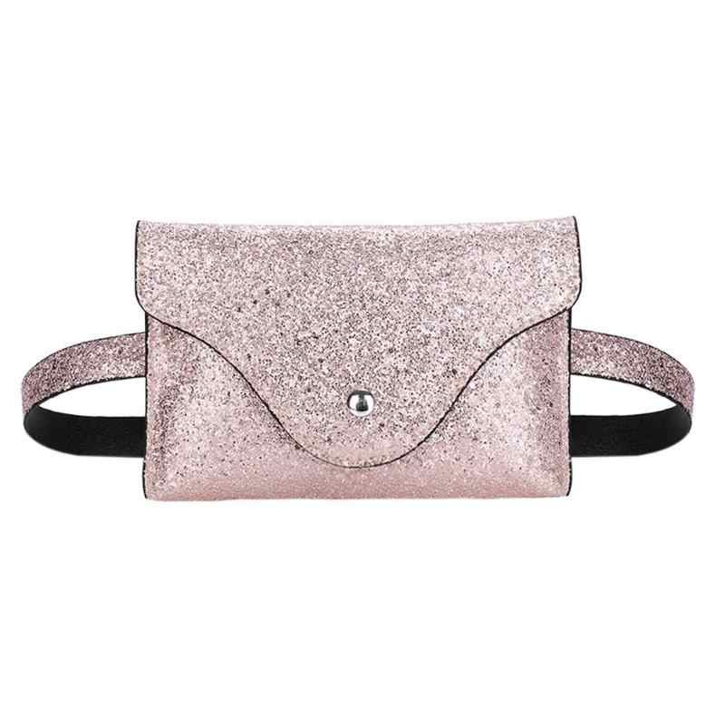 Women Fashion Reversible Sequin Glitter Waist Fanny Pack Belt Bum Bag Pouch  Hip Purse Waist Packs 1e4d21be4a0f
