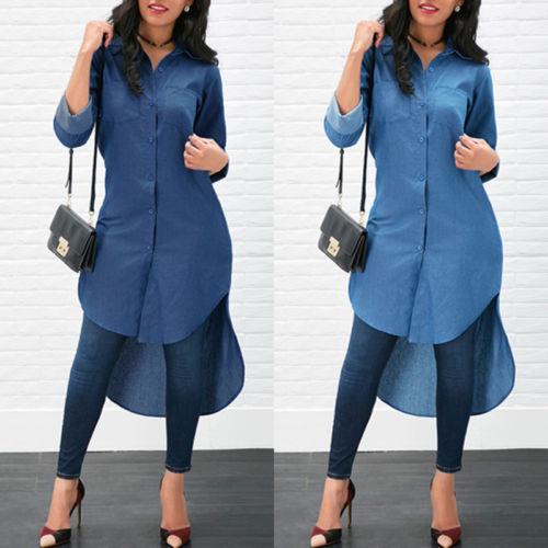 US $4.32 25% OFF|2019b Women Long Sleeve Denim Jean Lapel Shirt Dress Short  Midi Dress Tops Plus Size-in Dresses from Women\'s Clothing on ...